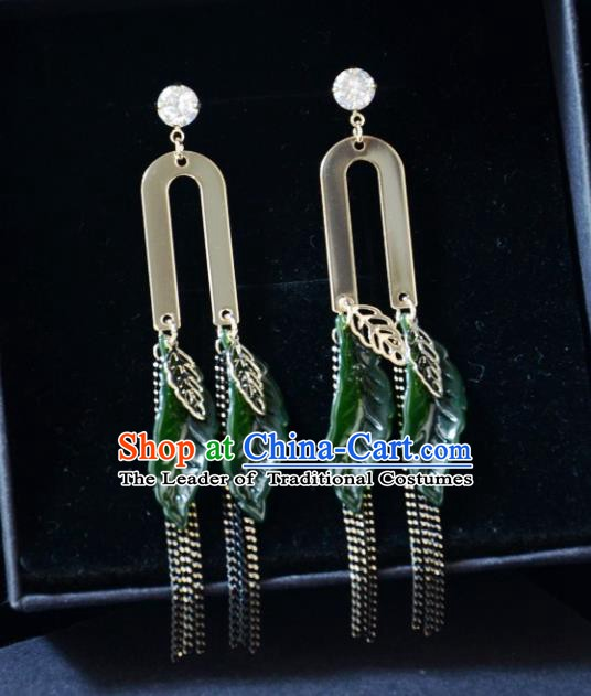 European Western Bride Vintage Green Leaf Tassel Earbob Accessories Renaissance Earrings for Women