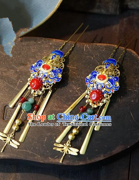 Chinese Handmade Classical Hair Accessories Ancient Hanfu Cloisonne Hairpins Tassel Step Shake Hair Clip for Women
