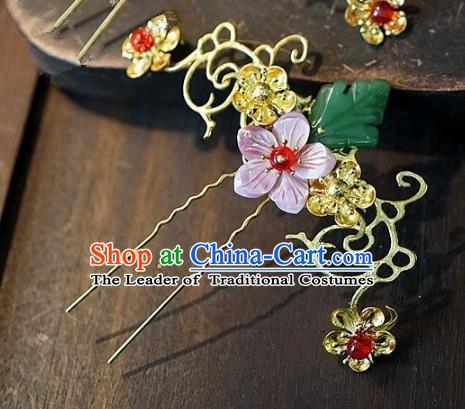 Chinese Handmade Classical Hair Accessories Ancient Hanfu Cloisonne Hairpins Pink Flower Hair Clip for Women