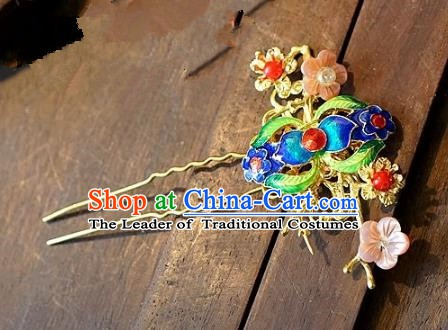 Chinese Handmade Classical Hair Accessories Ancient Hanfu Hairpins Cloisonne Hair Clip for Women