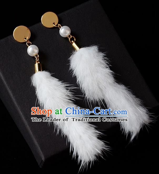 European Western Bride Vintage Accessories Renaissance White Earrings for Women