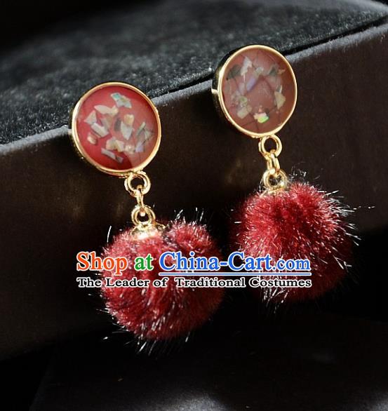 European Western Bride Vintage Accessories Renaissance Bohemia Red Venonat Earrings for Women