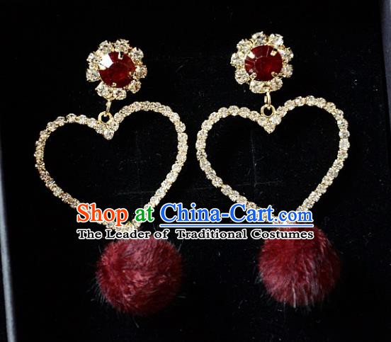 European Western Bride Vintage Accessories Renaissance Bohemia Red Venonat Crystal Earrings for Women