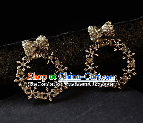 European Western Bride Vintage Accessories Renaissance Crystal Bowknot Earrings for Women