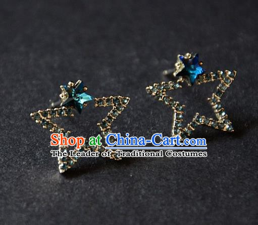 European Western Bride Vintage Accessories Renaissance Blue Crystal Star Earrings for Women