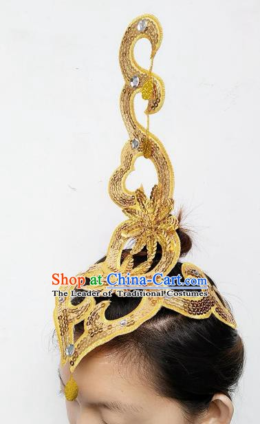 Chinese Classical Dance Yangge Folk Fan Dance Hair Accessories Yangko Golden Paillette Headwear for Women