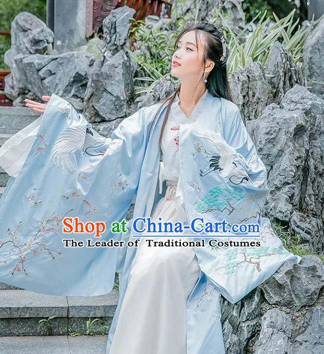 China Ancient Palace Princess Costume Embroidered Crane Blue Wide Sleeve Cardigan for Women