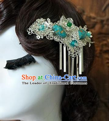 Chinese Handmade Classical Wedding Hair Accessories Ancient Hanfu Tassel Side Hairpins for Women