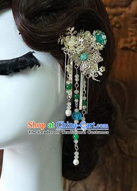 Chinese Handmade Classical Wedding Hair Accessories Ancient Hanfu Tassel Step Shake Side Hairpins for Women