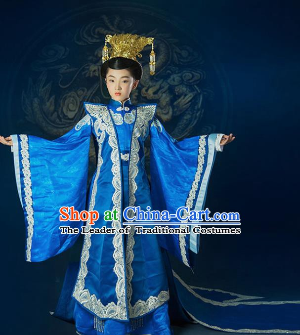 China Ancient Ming Dynasty Royal Empress Hanfu Embroidered Costume and Headpiece Complete Set for Kids