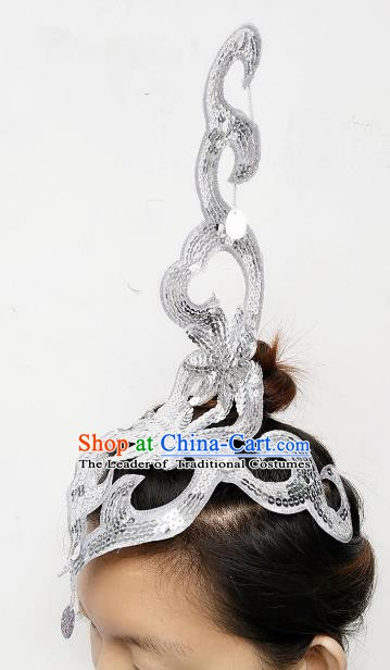 Chinese Classical Dance Yangge Folk Fan Dance Hair Accessories Yangko White Paillette Headwear for Women