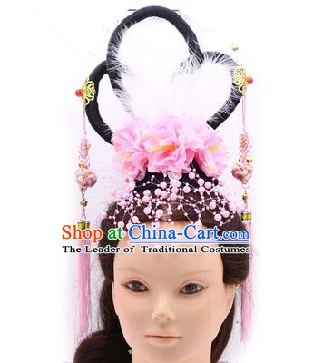 Handmade Asian Chinese Ancient Palace Lady Fairy Hair Accessories Wig and Hairpins for Kids