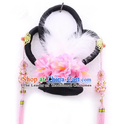 Handmade Asian Chinese Ancient Palace Fairy Hair Accessories Wig and Hairpins for Kids