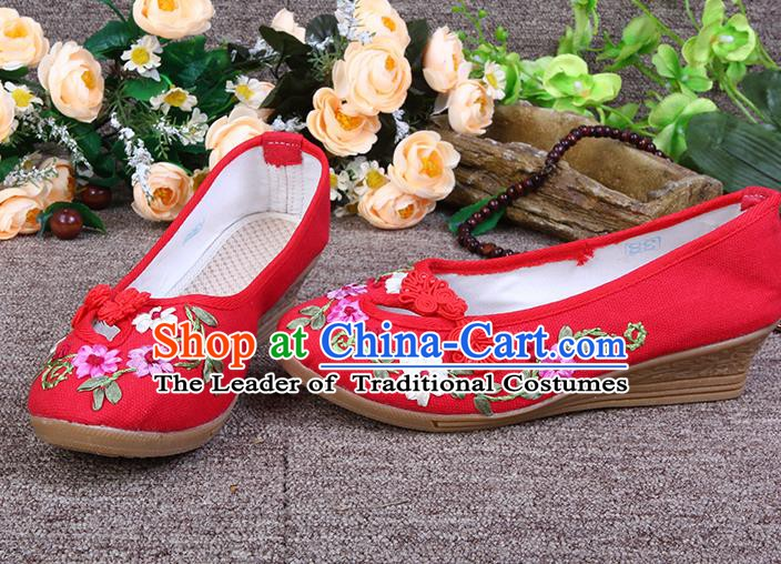 Asian Chinese Wedding Red Shoes Embroidered Shoes, Traditional China Hanfu Shoes for Women