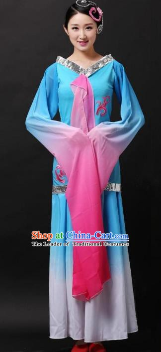 Traditional Chinese Classical Dance Water Sleeve Costume, China Folk Dance Yangko Clothing for Women