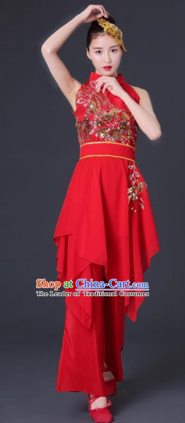 Traditional Chinese Classical Dance Sleeveless Costume, China Folk Dance Yangko Clothing for Women