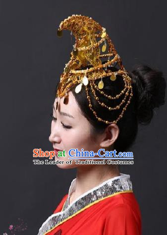 Chinese Classical Yangge Folk Fan Dance Hair Accessories Yangko Golden Paillette Tassel Headwear for Women
