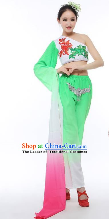 Traditional Chinese Classical Yangge Dance Costume, China Folk Dance Green Clothing for Women