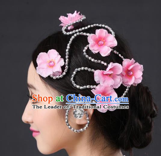 Chinese Classical Yangge Folk Fan Dance Hair Accessories Yangko Pink Flowers Headwear for Women