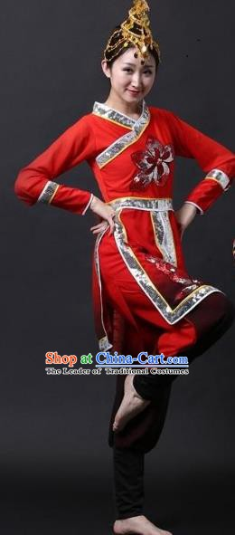 Traditional Chinese Yangge Folk Dance Water Sleeve Costume, China Yanko Drum Dance Clothing for Women
