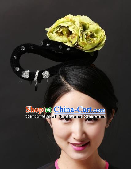 Chinese Classical Yangge Dance Hair Accessories Folk Dance Green Flowers Headwear for Women