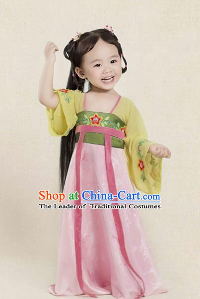 China Ancient Tang Dynasty Princess Fairy Hanfu Embroidered Dress Costume for Kids