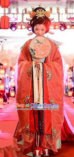 Traditional Chinese Zhou Dynasty Imperial Empress Wedding Embroidered Trailing Costume Complete Set for Women
