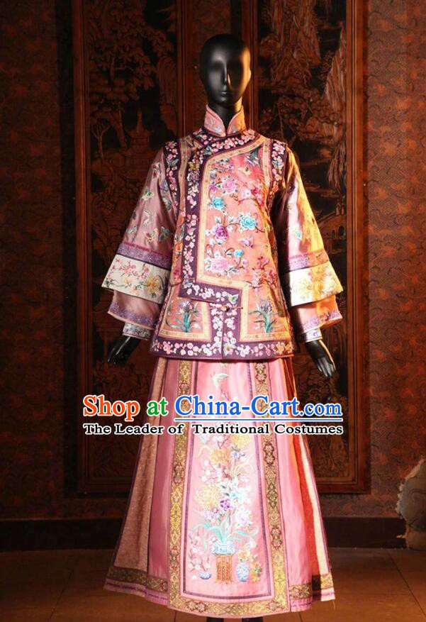 Traditional Chinese Qing Dynasty Manchu Palace Lady Embroidered Costume for Women