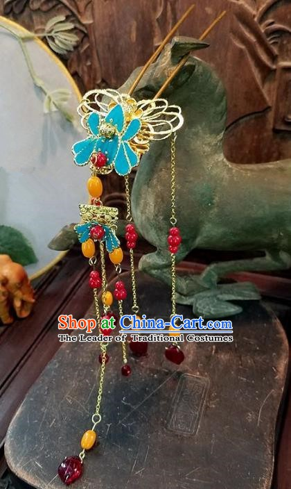 Chinese Handmade Classical Hairpins Tassel Step Shake Ancient Hanfu Wedding Hair Accessories for Women