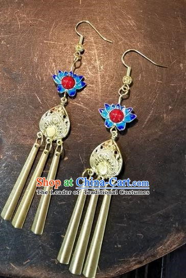 Asian Chinese Traditional Handmade Jewelry Accessories Blueing Lotus Earrings for Women