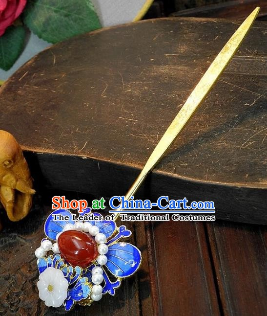 Chinese Handmade Classical Hair Accessories Hairpins Ancient Cloisonne Hair Clip Headdress for Women