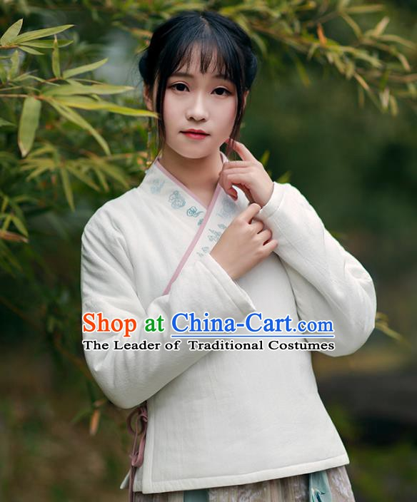 Traditional Chinese National Costume Cheongsam Cotton-padded Blouse Tangsuit Embroidered Coats for Women