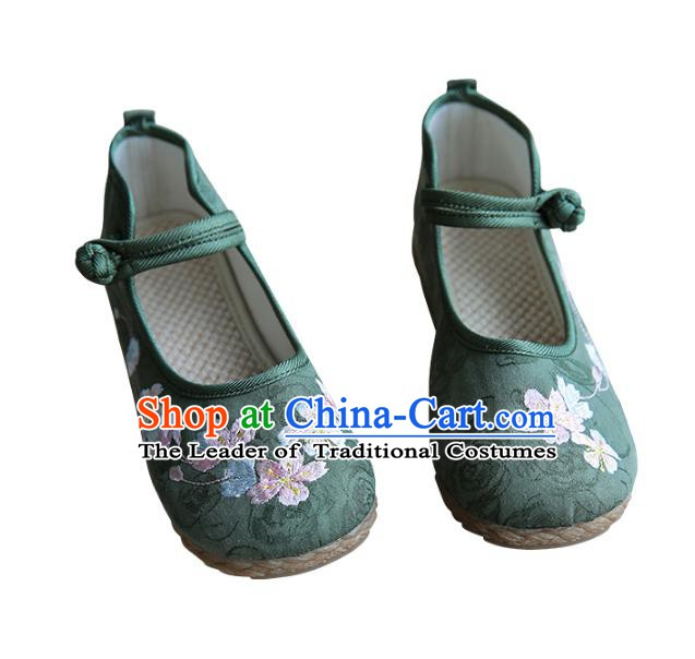 Traditional Chinese Green Shoes Wushu Shoes Hanfu Shoes Embroidered Shoes