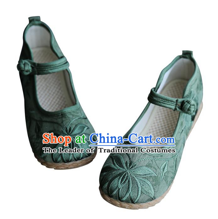 Traditional Chinese Shoes Wushu Shoes Green Hanfu Shoes Embroidered Lotus Shoes