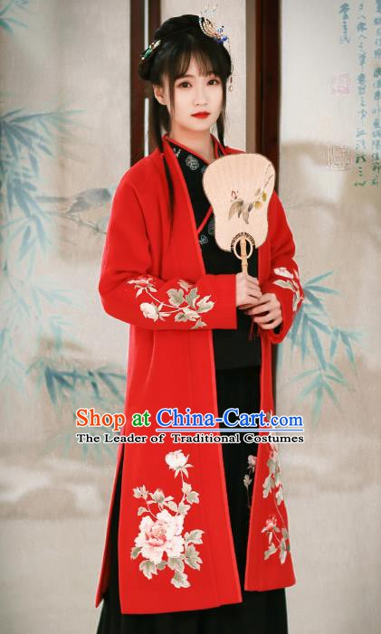 Traditional Chinese National Costume Cheongsam Blouse Tangsuit Embroidered Red Coats for Women