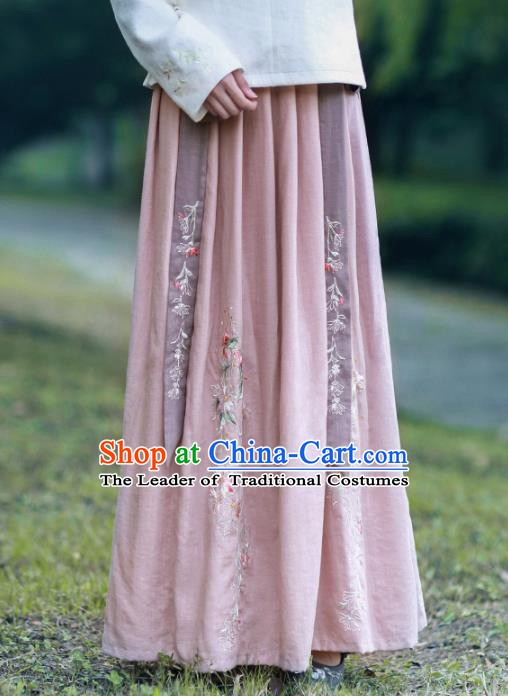 Traditional Chinese National Costume Embroidered Hanfu Skirts Tangsuit Dress for Women
