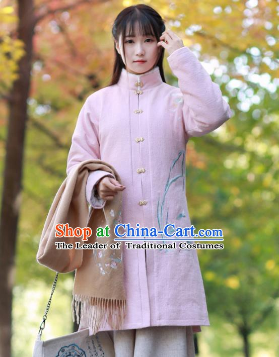 Traditional Chinese National Costume Embroidered Hanfu Coats Tangsuit Dust Coat for Women