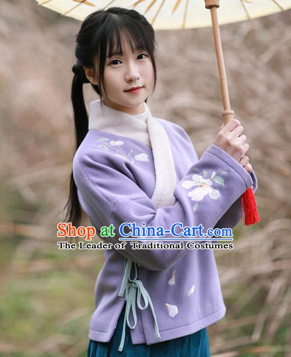 Traditional Chinese National Costume Embroidered Purple Blouse Tangsuit Shirts for Women