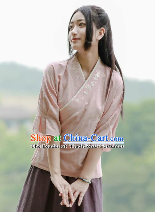 Traditional Chinese National Costume Embroidered Hanfu Blouse Tangsuit Shirts for Women