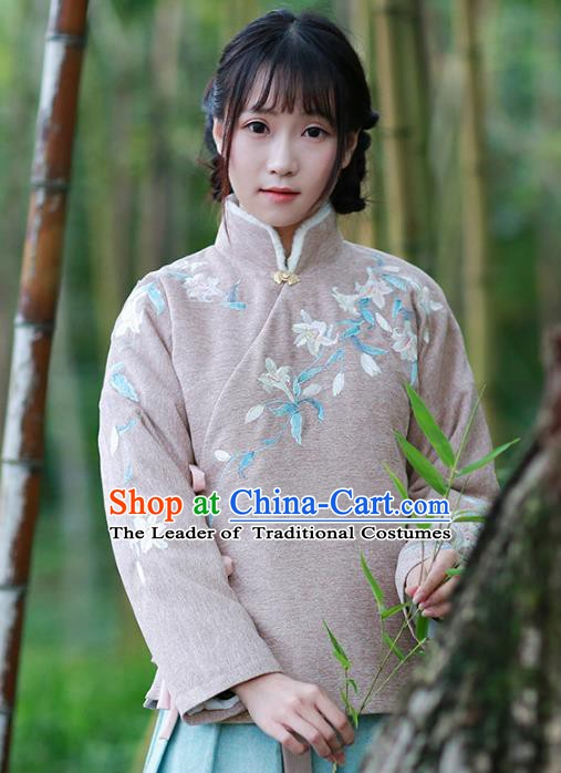 Traditional Chinese National Costume Embroidered Hanfu Cotton-padded Blouse Tangsuit Shirts for Women