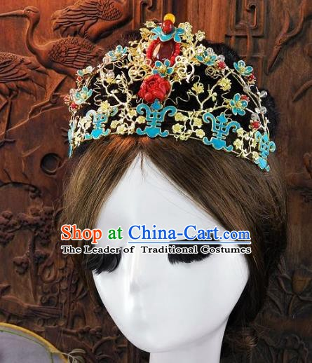 Chinese Handmade Classical Agate Phoenix Coronet Ancient Hanfu Wedding Hair Accessories for Women