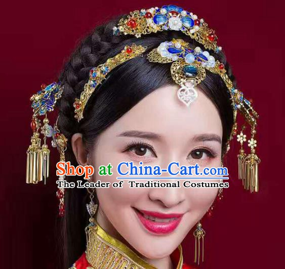 Chinese Handmade Classical Cloisonne Hair Accessories Ancient Wedding Headdress Phoenix Coronet Hairpins for Women