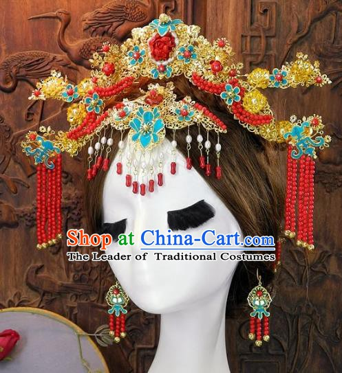 Chinese Handmade Classical Cloisonne Hair Accessories Ancient Wedding Phoenix Coronet Hairpins for Women
