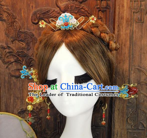 Chinese Handmade Classical Cloisonne Hair Accessories Ancient Wedding Jade Hairpins for Women