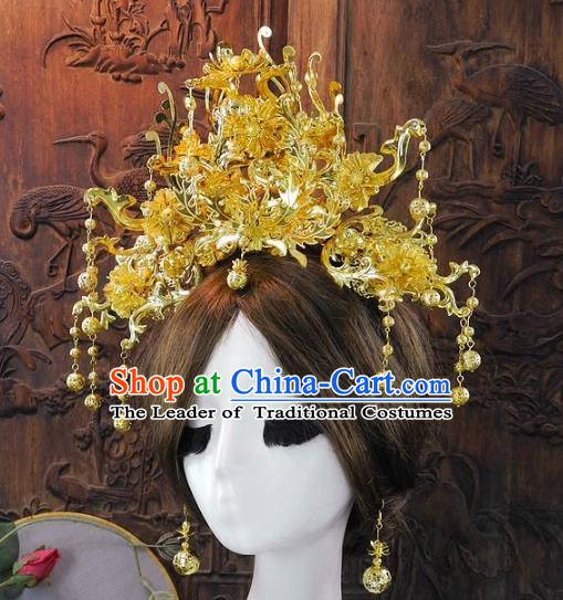Chinese Handmade Classical Golden Phoenix Coronet Ancient Hanfu Wedding Headdress Hair Accessories for Women