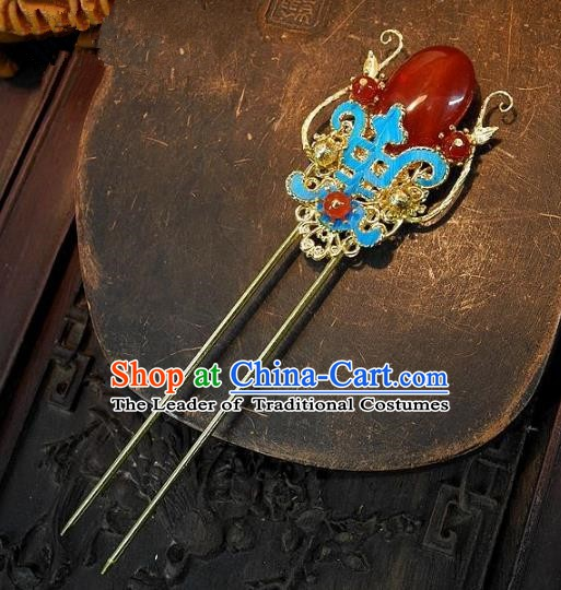 Chinese Handmade Classical Cloisonne Hair Accessories Ancient Wedding Hair Stick Agate Hairpins for Women