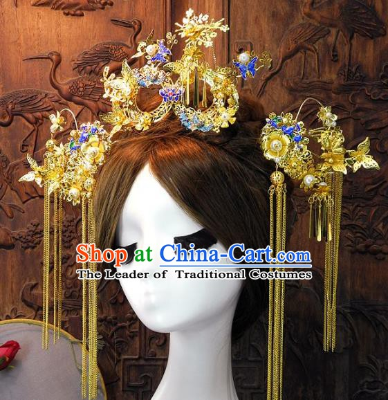 Chinese Handmade Classical Wedding Hair Accessories Ancient Bride Cloisonne Phoenix Coronet Complete Set for Women