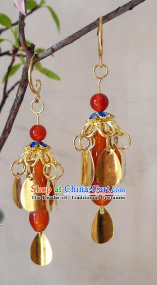 Asian Chinese Traditional Handmade Agate Earrings Jewelry Accessories Eardrop for Women