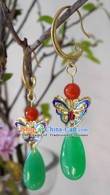 Asian Chinese Traditional Handmade Agate Earrings Jewelry Accessories Blueing Butterfly Eardrop for Women