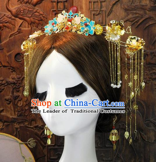 Chinese Handmade Classical Hairpins Ancient Xiuhe Suit Wedding Headdress Complete Set for Women